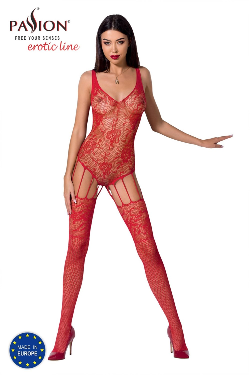 Passion BS074 red - Bodystocking