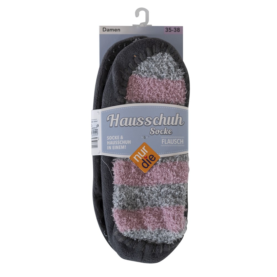 Papuče NurDie ponožkové papuče Socke Hausschuh šedá - růžová