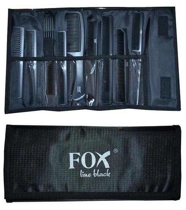FOX Line Black Sada profesionálních hřebenů 9ks + černé pouzdro