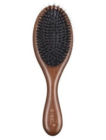 SIBEL Decopad S Oválný dřevěný kartáč na vlasy s kančími a nylonovými štětinami 220x70mm