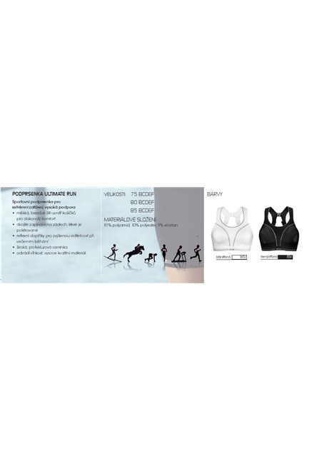 Sportovní podprsenka Shock Absorber Ultimate Run Sports Bra Ocean Wave