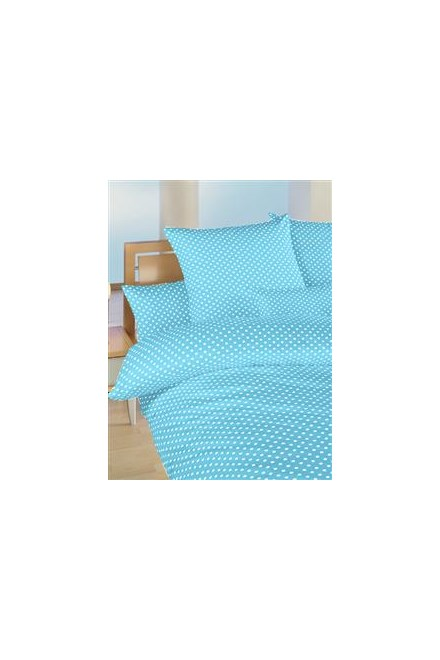 Povlečení bavlna do postýlky Puntík bílý na světle modrém