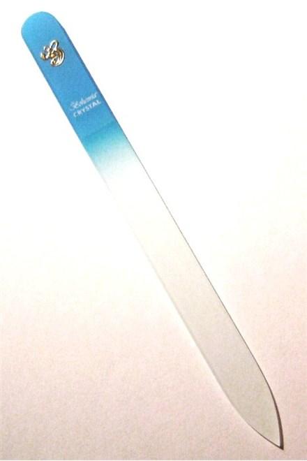 BOHEMIA CRYSTAL Skleněný pilník na nehty s potiskem - 140mm - sv. modrý