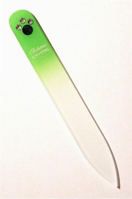 BOHEMIA CRYSTAL Skleněný pilník na nehty Swarovski - 90mm - sv. zelený