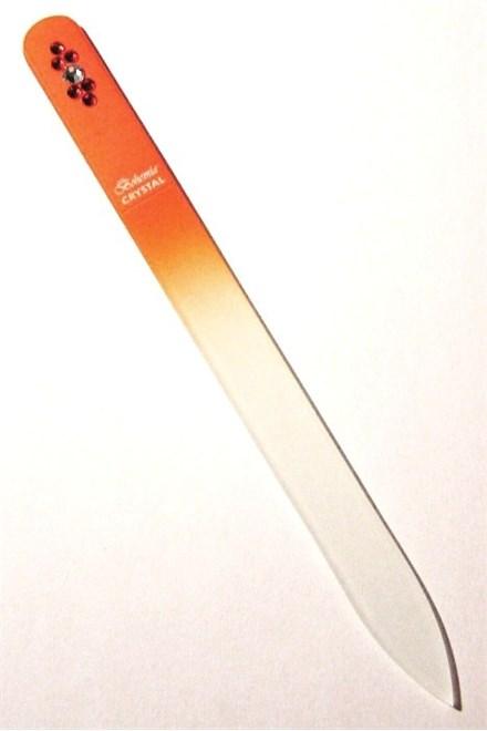BOHEMIA CRYSTAL Skleněný pilník na nehty Swarovski - 140mm - oranžový