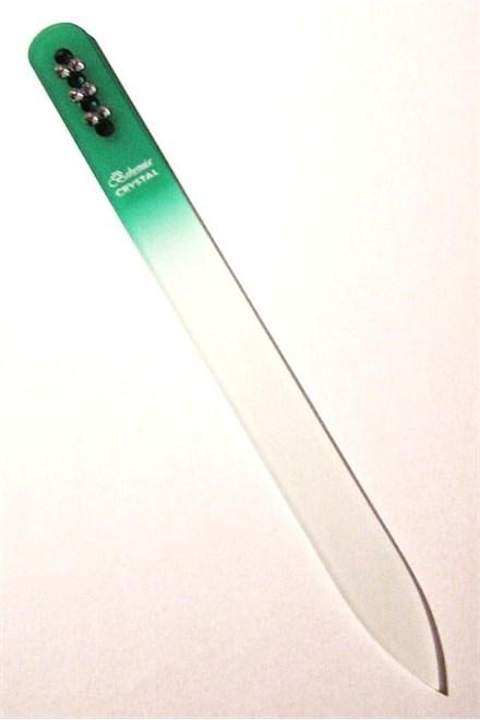 BOHEMIA CRYSTAL Skleněný pilník na nehty Swarovski - 140mm - zelený