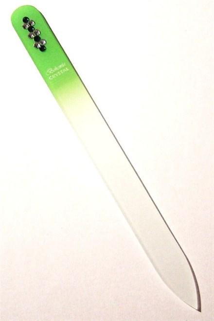 BOHEMIA CRYSTAL Skleněný pilník na nehty Swarovski - 140mm - sv. zelený