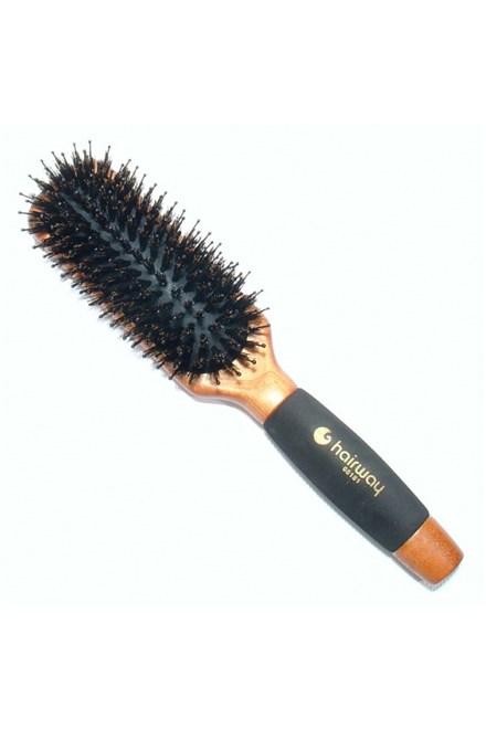 HAIRWAY 8181 Obdélníkový dřevěný kartáč s kančími štětinami na prodloužené vlasy