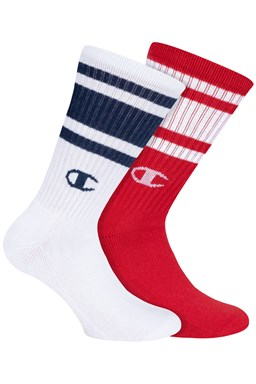 Ponožky CHAMPION CREW SOCKS LEGACY FASHION 2ks, bílá, červená
