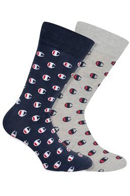 Ponožky CHAMPION CREW SOCKS ALLOVER C FASHION 2kusy, modré, šedé