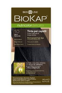 BIOKAP NUTRICOLOR DELICATO - Barva na vlasy - 1.00 Černá přírodní 140 ml