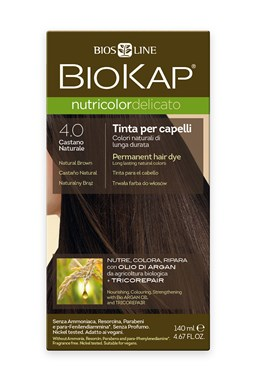BIOKAP NUTRICOLOR DELICATO - Barva na vlasy - 4.00 Hnědá přirozená 140 ml