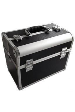 ALU kufr Black Hliníkový kadeřnický kufr s kovovými zámky
