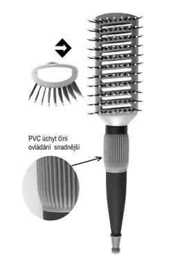 DUKO Kartáče Profesionální vyfoukávací dutý kartáč na vlasy 9 řad