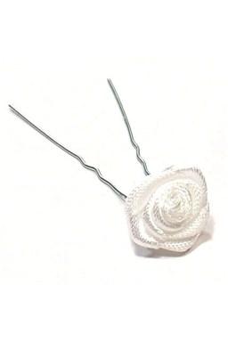 Vlasové doplňky Vlásenka s růžičkou 1ks - bílá