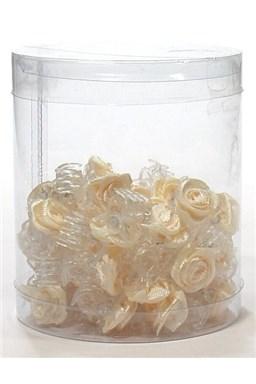 Vlasové doplňky Skřipečky s růžičkou 50ks - béžové