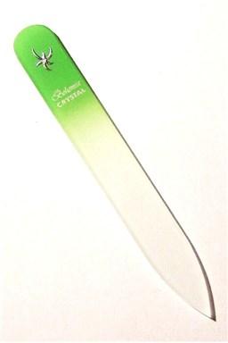 BOHEMIA CRYSTAL Skleněný pilník na nehty s potiskem - 90mm - sv. zelený