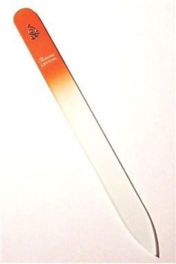 BOHEMIA CRYSTAL Skleněný pilník na nehty s potiskem - 140mm - oranžový