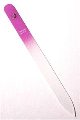 BOHEMIA CRYSTAL Skleněný pilník na nehty s potiskem - 140mm - růžový