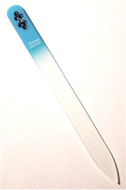 BOHEMIA CRYSTAL Skleněný pilník na nehty Swarovski - 140mm - sv. modrý