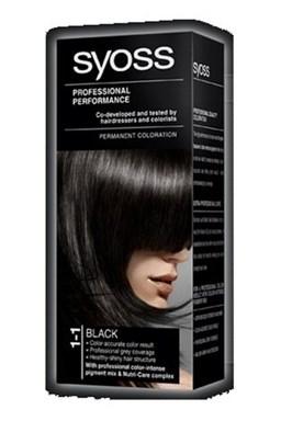 SYOSS Professional Permanentní barva na vlasy Black - černá 1-1