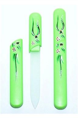 BOHEMIA CRYSTAL Skleněný pilník s krytkou Green - ručně malovaný s krystaly Swarovski