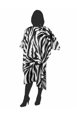 DUKO Pláště Kadeřnická pláštěnka na stříhání 125x145cm - černo bílá zebra