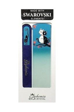 BOHEMIA CRYSTAL Cats Dárkova sada ručně malovaných skleněných pilníků - kočky, modrá