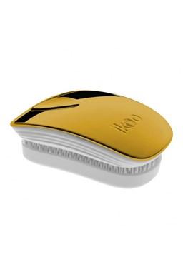 IKOO Pocket Metallic White Soleil - kapesní rozčesávací kartáč - bílo zlatý