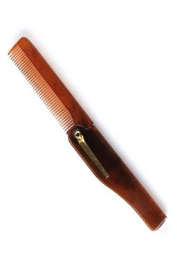 Beard Comb 001BC Brown - skládací hřeben pro úpravu vousů a kníru - hnědý