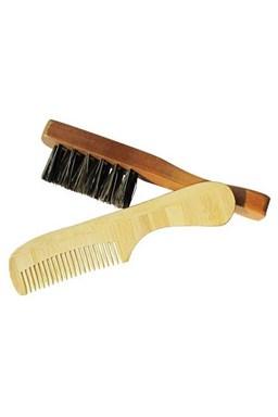 DUKO Beard SET BAM-68 + WC-11 bambusový hřebínek + dřevěný kartáček na vousy