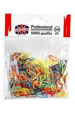 RONNEY Profesionální silikonové gumičky do vlasů 300ks - barevné