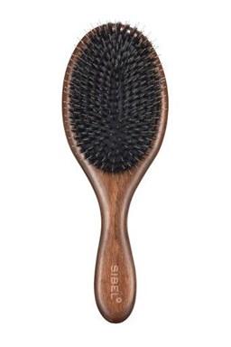 SIBEL Decopad L Oválný dřevěný kartáč na vlasy s kančími a nylonovými štětinami 240x80mm