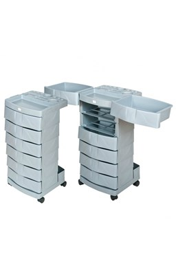FOX Nábytek Artego - pojizdný plastový kadeřnický pracovní vozík - stříbrný