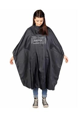 GAMMA PIÚ Profesionální kadeřnická pláštěnka s upevněním na háček - černá